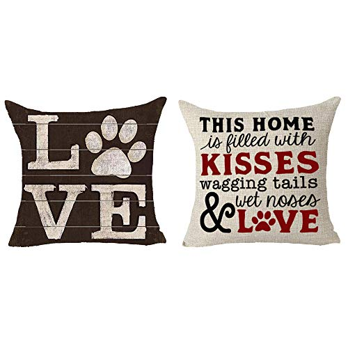 Queen's designer 2 Piece Set Saying This Home is Filled with Kisses Wagging Tails Wet Noses and Love Dog Claw Animal Cotton Linen Decorative Throw Pillow Case Cushion Cover Square 18'X18