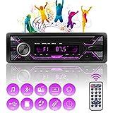 Autoradio Bluetooth Mains Libres 1 DIN, Récepteur Radio Voiture 4x60W Support FM/USB/MP3/WMA/TF/AUX +Télécommande,Soutien iOS, Android