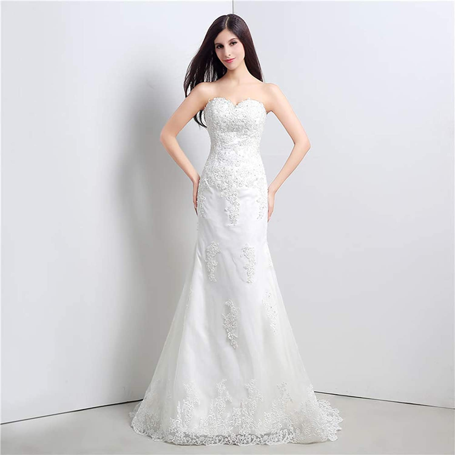 Women's Wedding Lace VNeck Shoulder Puff Princess Wedding Dress Adult Dress Evening Gown,US22W