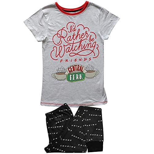 Warner Bros. Pijamas de mujer Friends en gris Marl/Negro/Blanco