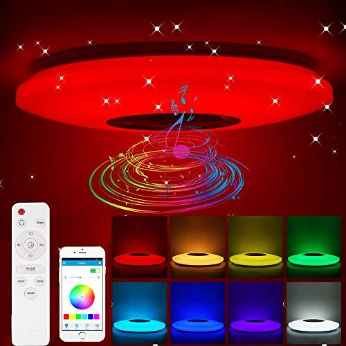 Blingbin Lampara Bluetooth Altavoz Techo, Aplicación RGB Regulable Control Remoto, Lámparas de Techo Para Dormitorio,lampara Infantil Techo, 36 * 36 * 5.5cm (36W)