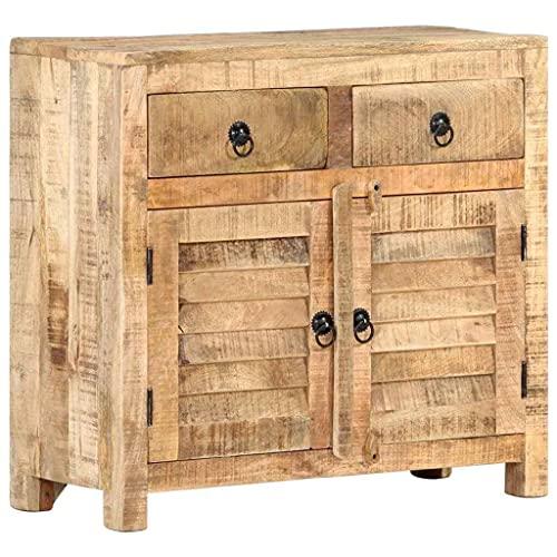 GXK Solid Mango Wood Sideboard 70cm Rustic Wooden Storage Cabinet Lowboard