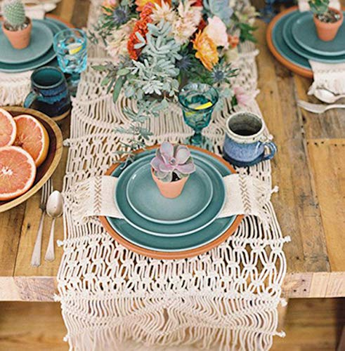 Flber Makramee-Tischläufer, handgewebt, Boho, Hochzeit, Tischdekoration, Bettwäsche, Decke, 33,8 x 29,4 cm 13.8