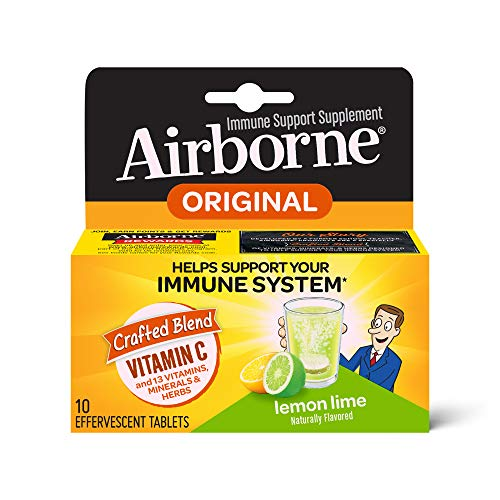 Vitamin C 1000mg (per serving) - Airborne Lemon Lime Effervescent Tablets (10 count in a box), Gluten-Free Immune Support Supplement, With Vitamins A C E, ZINC, Selenium, Echinacea & Ginger (Pack of 4