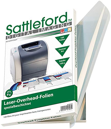 Sattleford Overheadfolie: 100 Overhead-Folien für Laserdrucker & Kopierer 100µ/glasklar (Laser Overhead Folien)