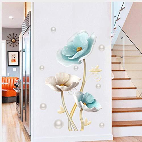 YIMING Pegatinas de pared de loto 3D decoración del hogar flores grandes...