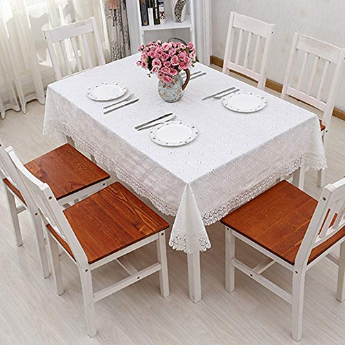 XIAOE Simple Cotton Embroidered Tablecloth Rectangular Dust Proof Table Cover Solid Color Piano Cover Towel Pastoral Round Dining Table Buffet Decoration Wedding 95 * 145cm