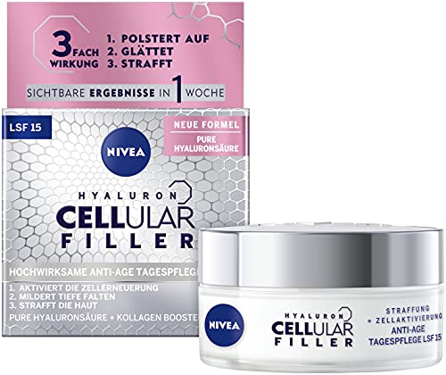 NIVEA Hyaluron Cellular Filler Anti-Age Tagespflege LSF 15 (50 ml), straffende Gesichtspflege mit Magnolia Extrakt, wirksame Anti Falten Feuchtigkeitspflege