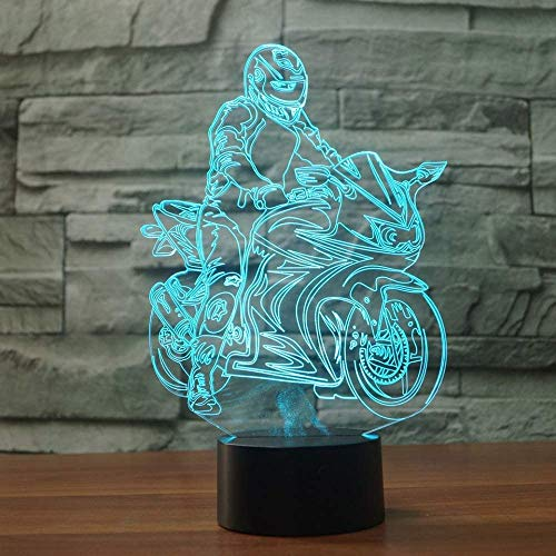 Visual Light Gaming Lights Modern Motorcycle Moulding 3D Visual Led Nightlight for Kids Button USB Table Lamp Baby Sleep Lightture Bedroom Decor Touch Switch