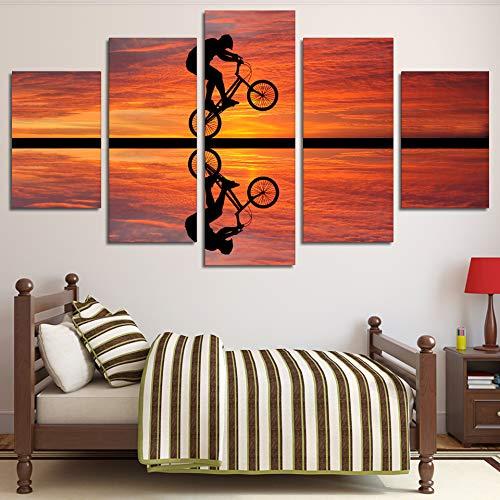 WYHFBH 5 Pezzi-Stampe su Canvas Casa Cucina Quadri Murali Quadri suTela Spiaggia Tramonto Bici Ciclismo Poster FotoS per Quadri-Senza Telaio