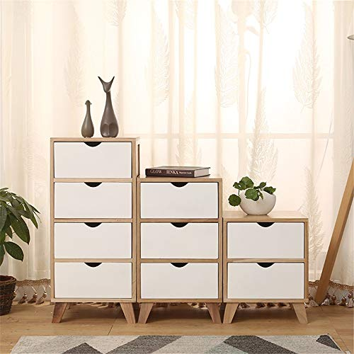 CHENSHJI Dresser Storage Tower Solid Wood Furniture Locker Drawer Bedside Storage Cabinet (Color : White, Size : Three floors)