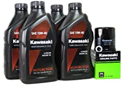 **Kits Includes 4 Quarts Of Oil, One Genuine OEM Kawasaki Oil Filter, and One Crush Washer. Outstanding engine and bearing wear protection Recommended in applications requiring API SL, JASO MA and JASO MA2 engine oil