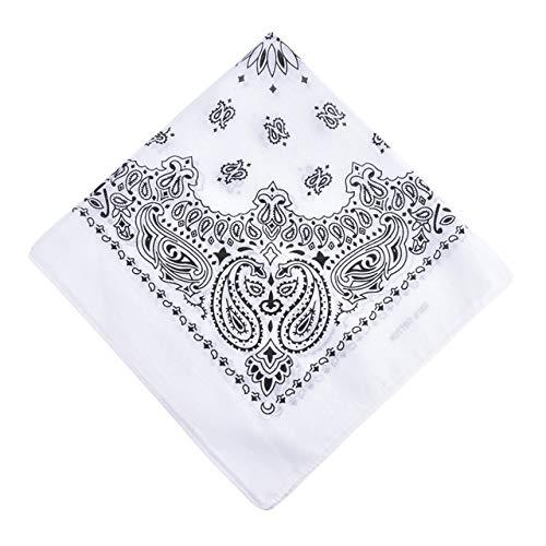 Yener katoenen bandana sjaal vierkante hoofddoek dames heren hiphop fiets bandana motorfiets bandana hoofddeksels sjaals hijab, WIT, one size