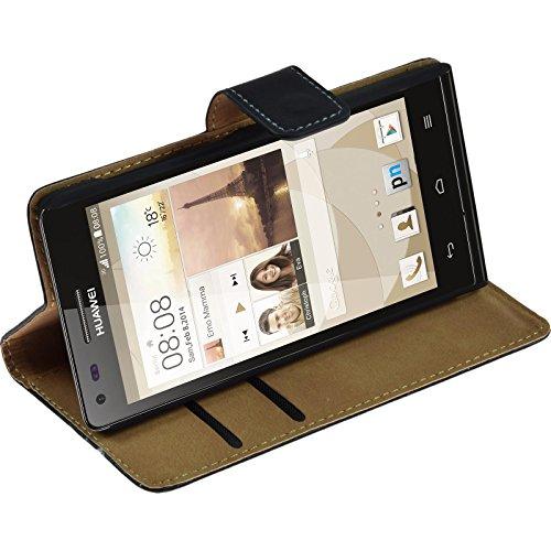 PhoneNatic Kunst-Lederhülle kompatibel mit Huawei Ascend P7 Mini - Wallet schwarz + 2 Schutzfolien