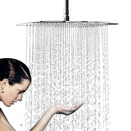 WYJP Soffione doccia a pioggia da incasso, soffione doccia a pioggia con ugelli anticalcare lucidati, effetto specchio lucido, acciaio inox 304