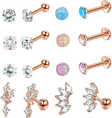 Milacolato 8 Pairs Stud Earrings Mens Womens Cartilage Ear Helix Tragus Barbell Piercings
