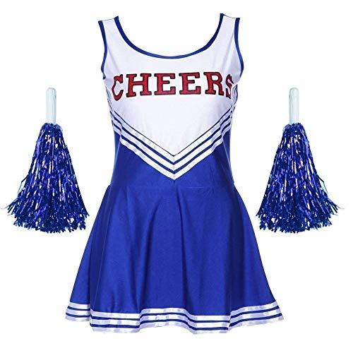Angel ZYJ Femme Costume de Cheerleader High School Uniforme de Pom-Pom Girl Musical Déguisement Halloween Carnaval Robe Costume 4 Couleurs XS - XXL (Bleu, XS)