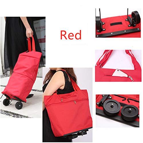 Mode multi-purpose boodschappen kar handtas opvouwbare sleeptouw bag voor tweeërlei gebruik wielen boodschappentas trailer Koop groenten zak