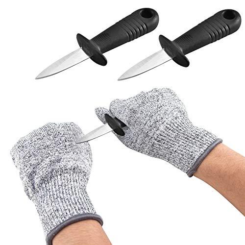 DMFSHI Cuchillo para Ostras, Guantes Resistentes a Cortes, 2 Cuchillos para Deshojar...