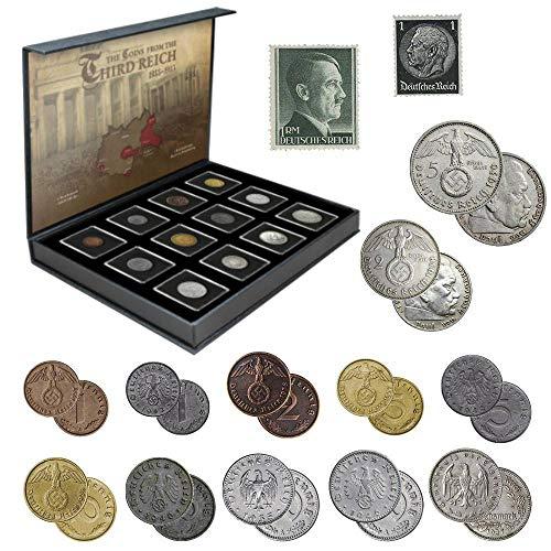 IMPACTO COLECCIONABLES Monedas Antiguas - 12 Monedas + 2 Sellos de Alemania,...
