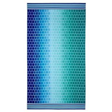 Cotton Craft - Oversized Jacquard Double Woven Velour Beach Towel 39x68 - Tile Blue Teal - Thick Plush Luxurious Velour Pile - 450 GSM - 100% Pure Ringspun Cotton - Brilliant Intense Vibrant Colors
