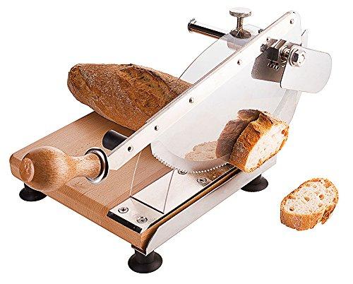 Brotschneidegerät/Brotschneider, Gestell aus Buchenholz, Sägeblatt aus Messerstahl, einstellbare Schnittstärke, Griffschutz / 23 x 21,5 cm   ERK