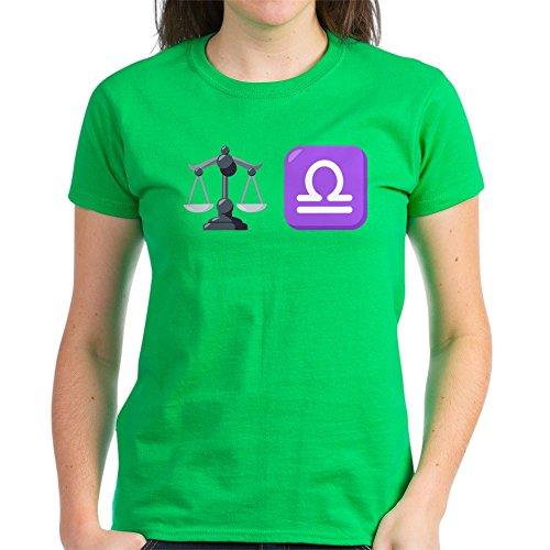CafePress Damen T-Shirt Emoji Waage Sternzeichen dunkel Baumwolle Gr. M, kelly