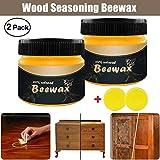 Greenwind 2 x Holzgewürz Bienenwachs und 2 x Schwamm Wood Wax Beeswax Natürliche Bienenwachs Möbelpflege Polieren Wasserdicht abriebfestes Wachs Möbelpflege (Gelb)