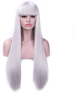Rosa Star Long Straight Hair Wigs with Flat Bangs Silver Gray Synthetic Wig for Women 26 Inches(88/89#)