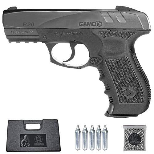 Ecommur. GP20 Combat | Pistola de perdigones (Bolas BB's de Acero) de Aire comprimido semiautomática 4,5mm + maletín + balines y CO2