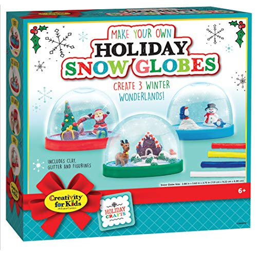 Creativity For Kids Holiday Snow globes - Makes 3 Christmas Snow globes for Kids (New Packaging)