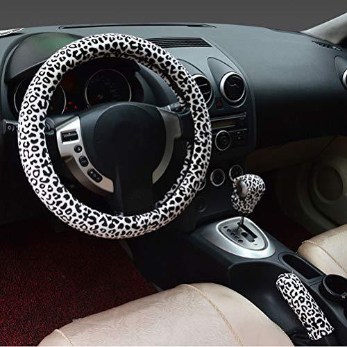 3 en 1 Soft Leopardo Cubierta del Volante del Coche Manija del Freno de Mano Palanca de Engranajes Puños Cubiertas 38 cm Corto de Felpa cálido Invierno para Todos los Autos Blanco