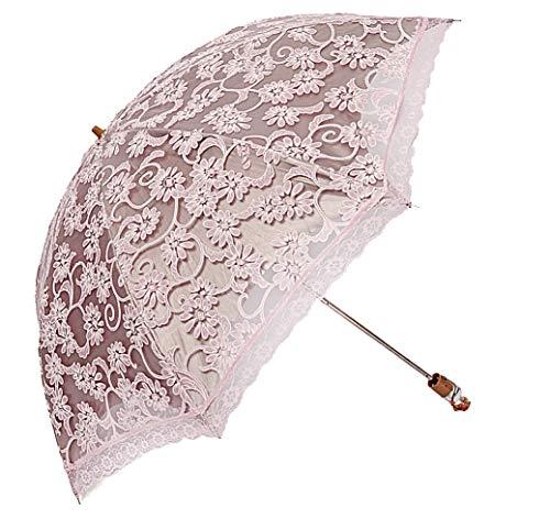 LCY Damen Vintage Lace 2 Faltbarer Anti-UV Sonnenschirm Regenschirm