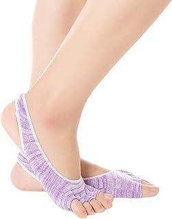 KINDOYO Grip Socks - Womens Yoga Socks Non Slip Pilates Socks with Grips Open Toe Sock for Ballet Dance Workout