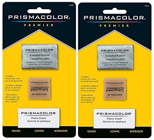 Sanford 2-PACK - Prismacolor Premier Eraser Set - Kneaded, ArtGum and Plastic Erasers, Set of 3 -  73318