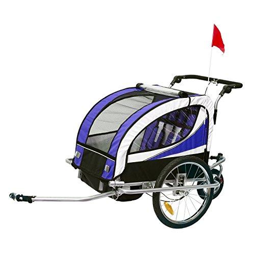 HOMCOM Remolque para Bicicleta tipo Carro con Barra de Paseo para Niños de 2 Plazas con Rueda Delantera Giratoria 360° y Asiento Acolchado Carga Máx. 40kg (Violeta)