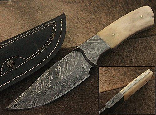 Randy knives RA-9002 Custom Made Damascus Steel Hunting Knife Bone Handle, Damascus Bolster, with Real Leather Sheath.