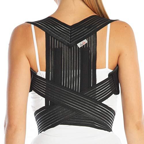 Armoline Haltungskorrektur Rückenbandage / Schultergurt, verstellbar, für Damen und Herren, Schwarz