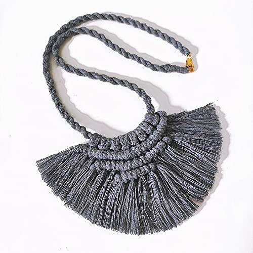 juntao Collar con borla tejida a mano, de macramé, de algodón, bohemio, cadena de suéter, simple de acero inoxidable, hecho a mano, accesorios bohemios (color metálico: 4)