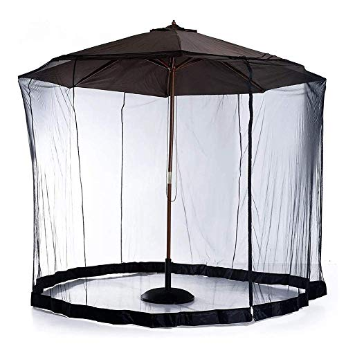 SWEET Moustiquaire extérieure, Parasol Portable extérieur Moustiquaire Patio Parapluie Écran Moustiquaire Filet Bug Bug Écran Polyester Filet Noir Couverture