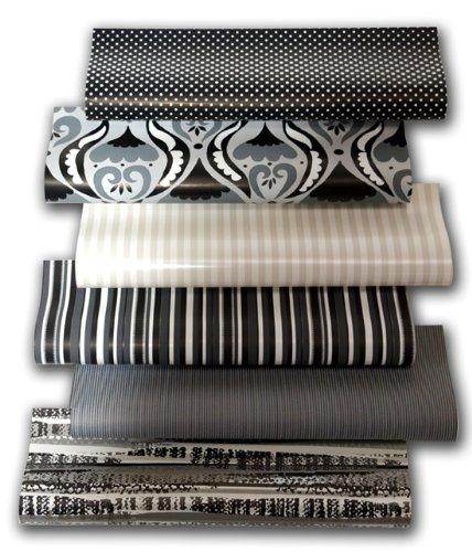 10er Rollen Set Black and White Spezial Edition Schwarz und Weiß Geschenkpapier 200 x 70 cm verschiedene Designs