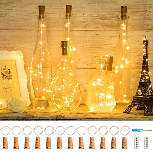 LED Flaschen-Licht 12 Stück 20 LEDs 2M Batteriebetrieben Kupferdraht Warmweiß Kork Flaschen Licht LED Nacht Licht Urlaub Stimmungslichter Sternenlicht für Flasche DIY Hochzeit Party Romantische Deko