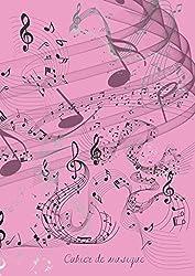 Cahier de musique rose: carnet de partition - Format A4 ( 21 x 29,7 cm) - 131 pages - souple de qualité - brillant - 12 portées de notes par page - ... et correction - idée cadeau (French Edition)