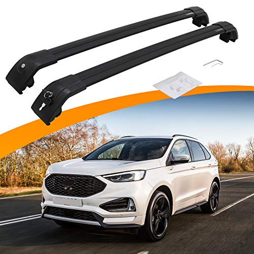 SnailAuto Fit for Ford Edge 2017 2018 2019 2020 2021 Black Roof Rack Rail Adjustable Lockable Cross Bar