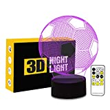 Cirkooh Sport Soccer Football 3D Optical Illusion Lamp 7 Colors Change Remote Control and Touch Button LED Table Desk Night Light for Bedroom Decoration