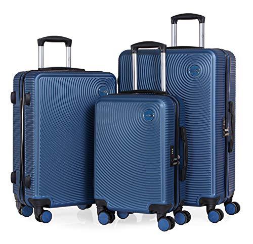 CABIN GO – Set di 3 valigie - bagaglio a mano da 55 cm, valigia media da 65 cm, valigia grande da 76 cm, in ABS rigido, TSA.