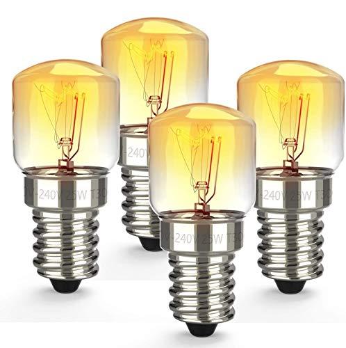 E14 25W Backofenlampe,Ofen Glühbirnen,kleiner Edison-Schraubsockel,2700K Wolframlicht Halogenlampe,Bis 300°C Hitzebeständiges,Leuchtmittel für Mikrowelle/Backofen, 4er Pack [Energieklasse C]