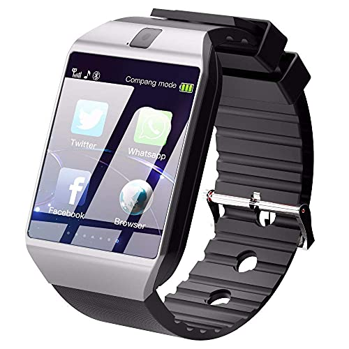 R&J Paithavik Smart Watch Bluetooth Touch Screen Sweat Proof Phone with Camera TF/SIM Card Slot for Android and Smartphones for Kids Girls Boys Men Women (Black )