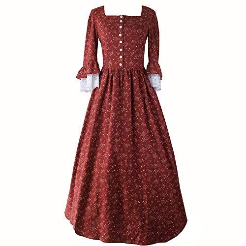 Re-Lady Vestido rococó victoriano vintage floral para mujer, disfraz de fiesta renacentista medieval - rojo - Large