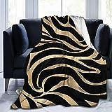 LIAM HENDERSON Elegant Metallic Gold Zebra Black Animal Print Throw Blanket Suitable Ultra Soft Weighted Bedding Fleece Blanket for Sofa Bed Office 50'x40' Travel Multi-Size for Adult